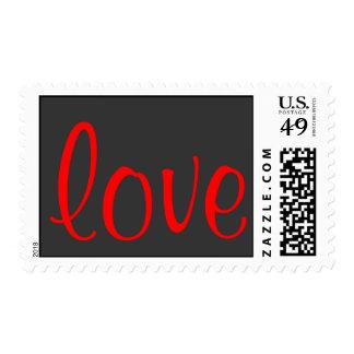 Unique Calligraphy Grey Red Love Wedding Postage