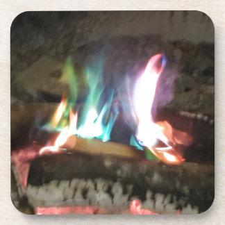 Unique Campfire Flames Of Color Beverage Coaster