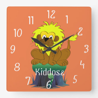 Unique cartoon lion on a tree trunk square wall clock