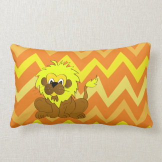 Unique cartoon lion on a yellow chevron background lumbar pillow