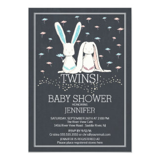 Unique Chalkboard TWIN Girl Boy Bunny Baby Shower Card