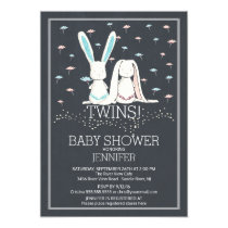 Unique Chalkboard TWIN Girl Boy Bunny Baby Shower Invitation