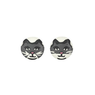 UNIQUE CHARCOAL GRAY & WHITE CATS EARRINGS