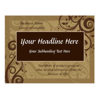 Unique Chocolate Swirl Business Postcard Template