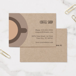 Unique Coffee Icon Kraft Coffee Shop Business Card