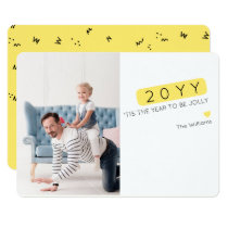 Unique Color Editable New Year Wishes Photo Card