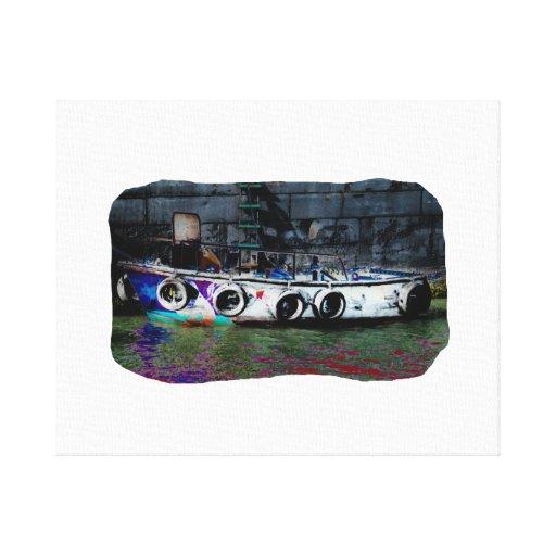 Unique Colored small boat photo Canvas Print