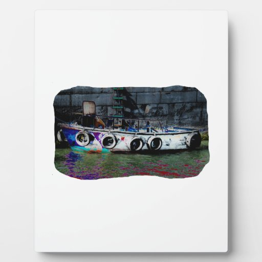 Unique Colored small boat photo Plaques
