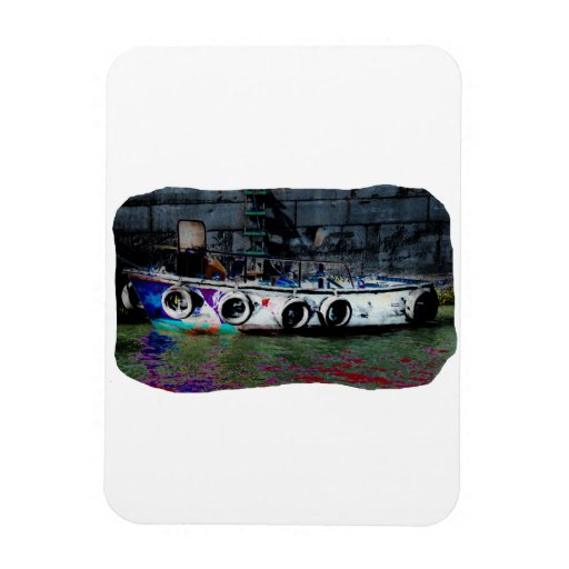 Unique Colored small boat photo Rectangular Photo Magnet