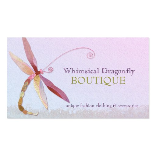 Unique colorful dragonfly fashion business cards zazzle for Cool fashion business cards