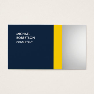 Unique Colorful Yellow Navy Blue Gray Business Card