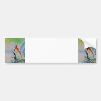 Unique combo solarized colors tree and bird car bumper sticker