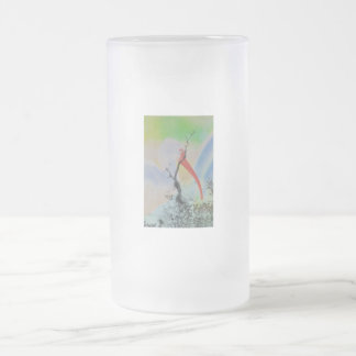 Unique combo solarized colors tree and bird frosted glass beer mug