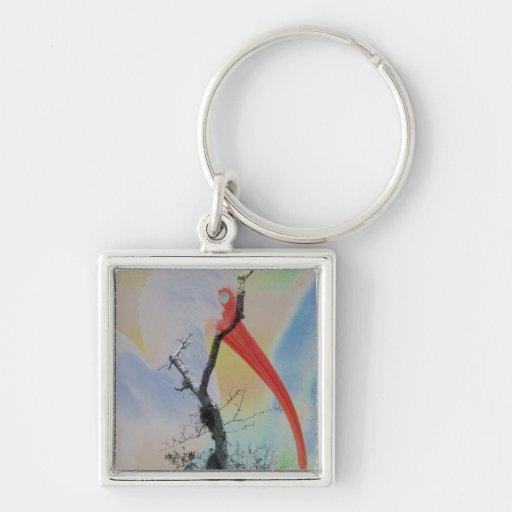 Unique combo solarized colors tree and bird Silver-Colored square keychain