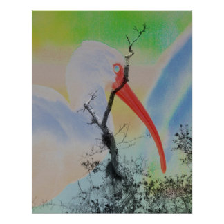 Unique combo solarized colors tree and bird posters