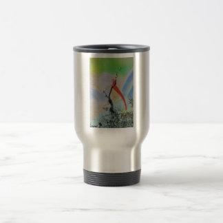 Unique combo solarized colors tree and bird travel mug