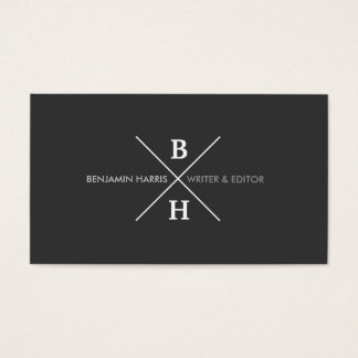 UNIQUE & COOL MODERN MONOGRAM on DARK GRAY Business Card