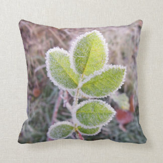Unique cushion featuring Frosty Green Leaves