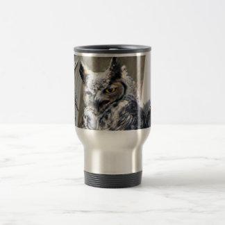 Unique Custom Great Horned Owl 15 Oz Stainless Steel Travel Mug