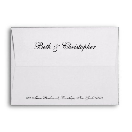 Unique Custom Return Address Wedding Envelope