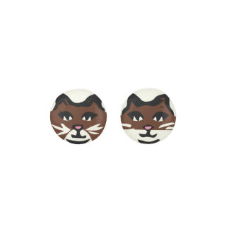 UNIQUE DARK BROWN & WHITE CATS EARRINGS