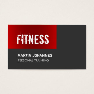 Unique Dark Red Grey Personal Trainer Business Card