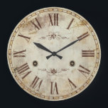 """Unique Decorative Roman Numeral Vintage Rustic Large Clock<br><div class=""""desc"""">Unique Decorative Roman Numeral Vintage Rustic Shabby Chic Round Wall Clock. An old look antique style design like a classic clock you would find in a museum. This decorative round wall clock is perfect for decorating your home, kitchen or office. You can also add text to the design and dedicate...</div>"""