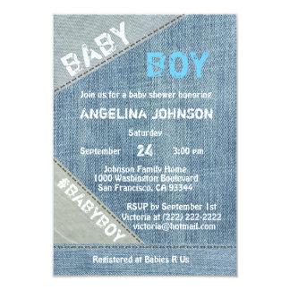 UNIQUE Denim Jeans Boy Baby Shower Invitations