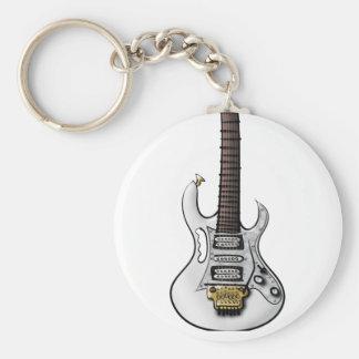 Unique electric rock guitar caricature keychain