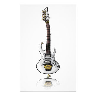 Unique electric rock guitar caricature stationery