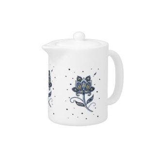Unique Elegant Custom Floral Paisley Blue Teapot
