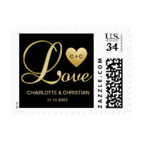 Unique Elegant LOVE Gold Heart Wedding Anniversary Postage