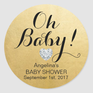 Unique Elegant OH BABY! Faux Gold Foil Baby Shower Classic Round Sticker