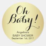 Unique Elegant OH BABY! Gold Baby Shower Classic Round Sticker