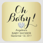 Unique Elegant OH BABY! Gold Baby Shower Square Sticker
