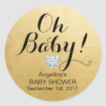 Unique Elegant OH BABY! Gold Foil Baby Shower Classic Round Sticker