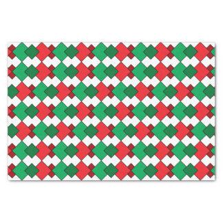Unique Elegant Red Green White Argyle Christmas Tissue Paper
