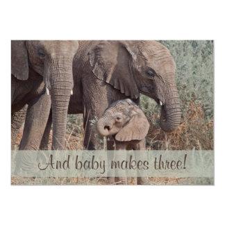 Unique Elephant Family Baby Shower Invitation
