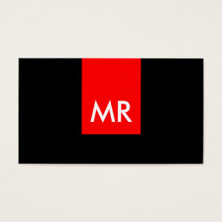 Unique exclusive monogram black red white special business card
