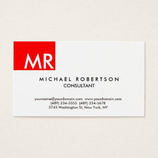 Unique exclusive monogram red white modern business card