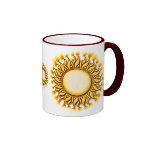 Unique flaming tribal sun design coffee mug zazzle for Coffee mugs unique design