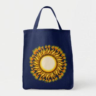 Unique Flaming Tribal Sun Design Tote Bag
