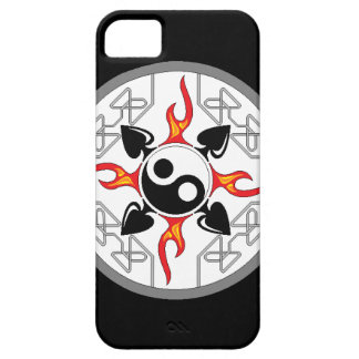 Unique Flaming Yin Yang with 4 Clubs iPhone cover
