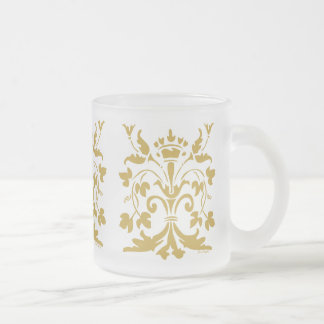 Unique Fleur de lis Queen (antique gold) Frosted Glass Coffee Mug
