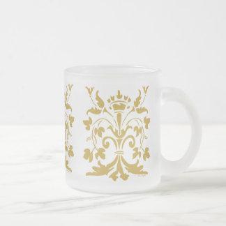 Unique Fleur de lis Queen (antique gold) Frosted Glass Coffee Mug