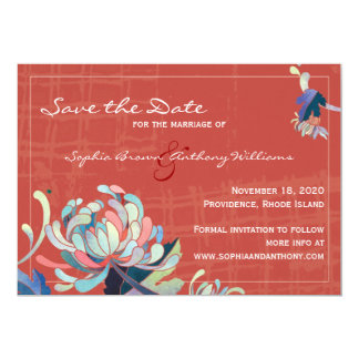 Unique Floral Red Wedding Save the Date Card