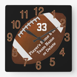 Unique Football Senior Night Gifts, TEXT, COLORS Square Wall Clock