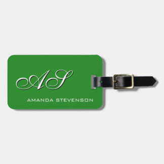 Unique Forest Green White Script Monogram Bag Tag