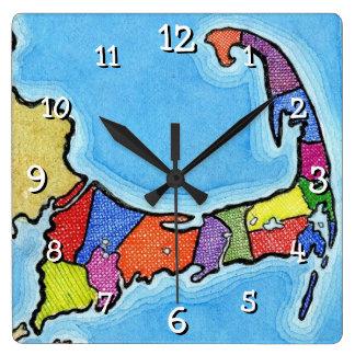 Unique Fun and Colorful Cape Cod Map Square Wall Clock