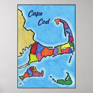 Unique Fun and Colorful Cape Cod Map Poster